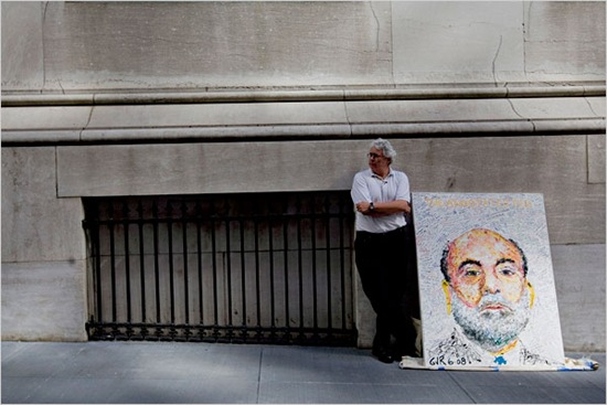 Geoffrey Raymond outside Fed with Bernanke portrait by Daniel Acker Bloomberg