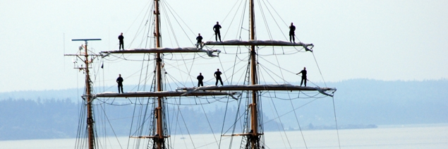 Crew in the rigging of the USCGC Eagle