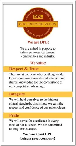 DPL Values Card